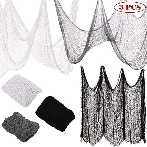 3 Pieces Halloween Creepy Cloth Scary Drape Cloth Entryways Creepy Gauze Halloween Party Decoration, 72 x 30 Inch ()