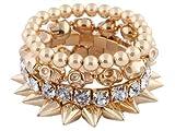 JOTW Goldtone Spikes, Skulls, Rhinestones, Beaded Stretch Bundle Bracelet (S-1409)