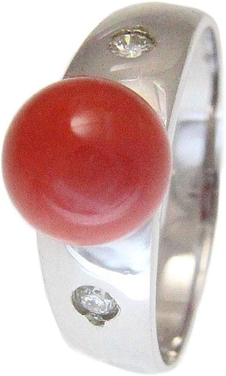0.04 cttw ring 14k solid white gold genuine natural 7.60mm red coral ball diamond color H-I, clarity SI2