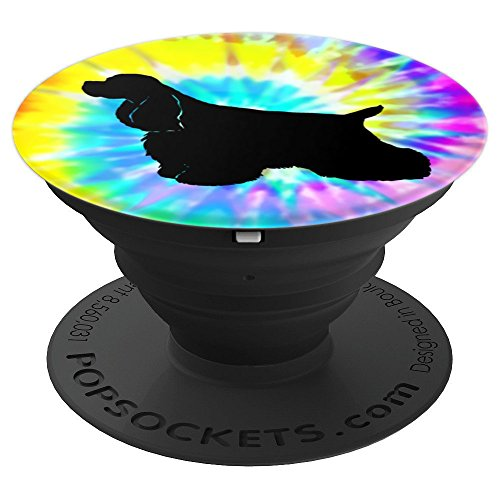 Spaniel Silhouette - Cocker Spaniel Dog Silhouette with Puppy Tie Dye Prints - PopSockets Grip and Stand for Phones and Tablets