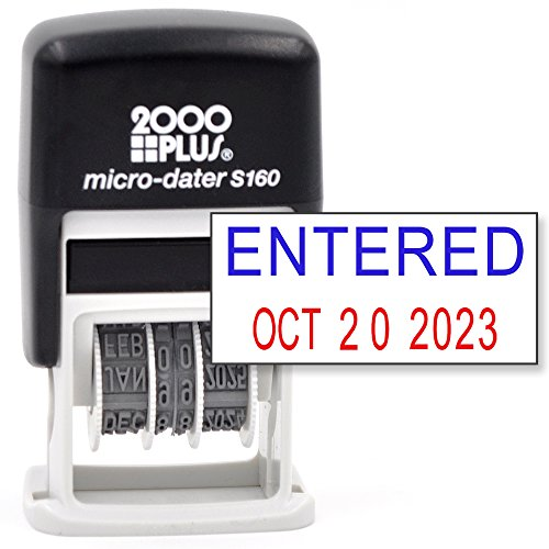 Self Plus Inking 2000 (Cosco 2000 Plus Self-Inking Rubber Date Office Stamp with Entered Phrase Blue Ink & Date RED Ink (Micro-Dater 160), 12-Year Band)