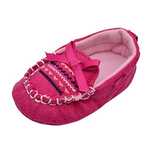 BOBORA Los Ninos y Ninas Suela Blanda Cuna Zapatos Algodon Rojo+Rosa