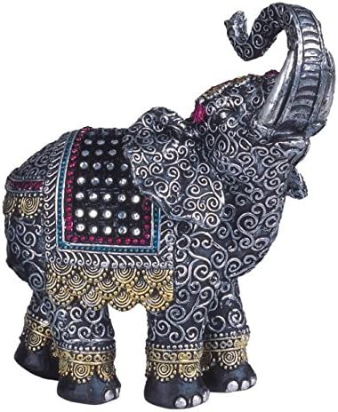 Black Thai Elephant with Trunk Raised Collectible Figurine Statue GSC 6068478