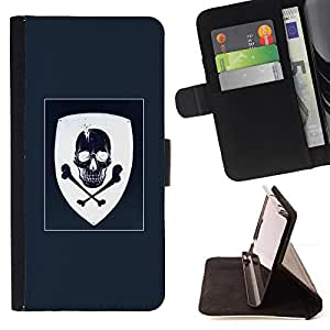 BullDog Case - FOR/Sony Xperia m55w Z3 Compact Mini / - / COAT OF ARMS BLUE WHITE SKULL PIRATE /- Monedero de cuero de la PU Llevar cubierta de la caja con el ID Credit Card Slots Flip funda de cuer