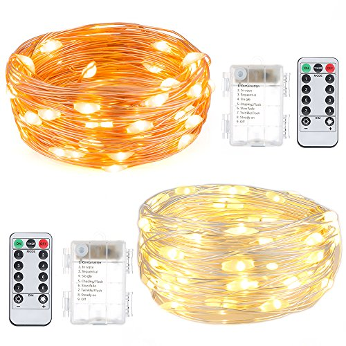 [LED String Lights 2 Set Birthday Party Decoration Lights with Remote Control FoYoung Fairy Lights Battery Operated Twinkle Lights for Wedding Dress Costume Warm] (Common Costumes Ideas)