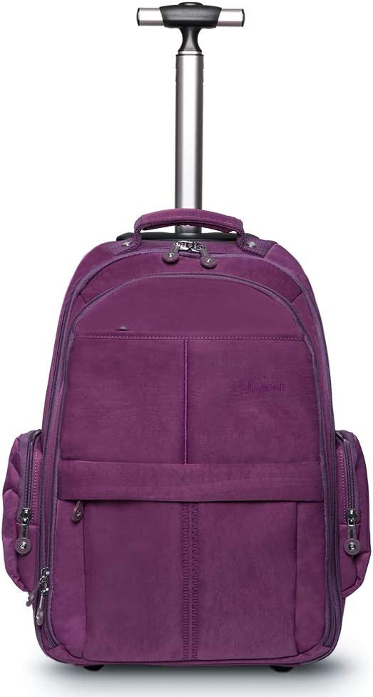 HollyHOME 19 inches Wheeled Rolling Backpack for Men and Women Business Laptop Travel Bag, Purple