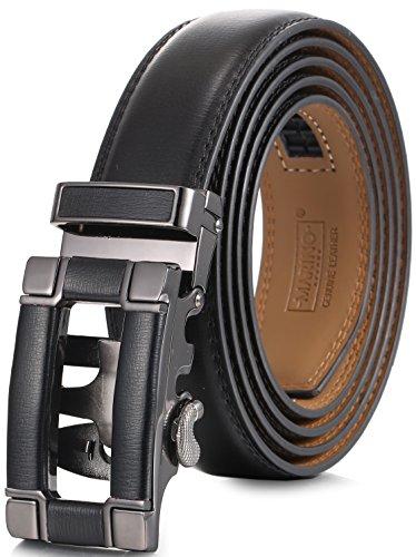 Designer Belt Buckle (Marino Ratchet Click Belt for Men, Designer Mesn's Leather Dress Belt with Open Automatic Buckle, Enclosed in an Elegant Gift Box - Black 147 - Custom: Up to 44