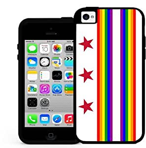 District of Columbia State Flag Gay Pride Rainbow 2 Piece Dual Layer Hard Silicone Cell Phone Case Cover iPhone (i5 5s)