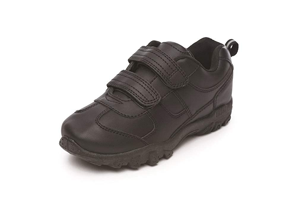 fca13d5dcf51f Boys Black School Shoes Trainer Style Hook & Loop Closure Size 8 9 10 11 12  13 1 2 3 Infant Junior