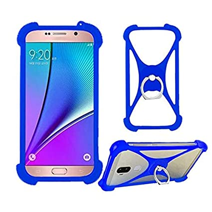LANKASHI Azul Funda de Silicona Case Ring Stand Holder Dedo Agarre Soporte Protectora Carcasa Cover para Vodafone Smart N9 Lite VFD-620 C9 N8 Smart 4G ...