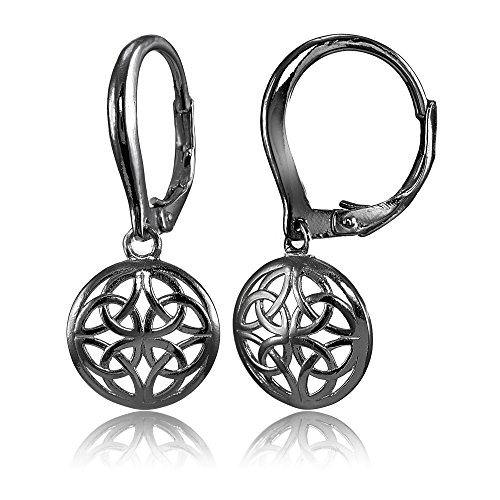 Black Flashed Sterling Silver High Polished Filigree Round Dangle Leverback Earrings