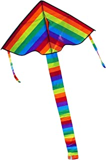 Hihamer Arc-en-Ciel Rainbow Longue Queue Triangle Nylon Kite Ripstops Easy Fly 30M Poignée Ligne Conseil Bobine Bobine Enfants en Gros Gentle Breeze Fly
