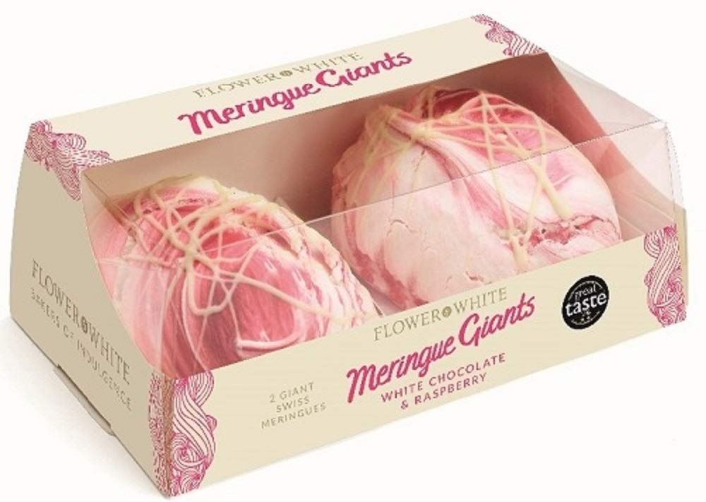 Flower & White - White Chocolate & Raspberry 2 Giant Swiss Meringues 140g x 2 Expires Dec 2019 Delivers 3-5 Days USA by Flower & White