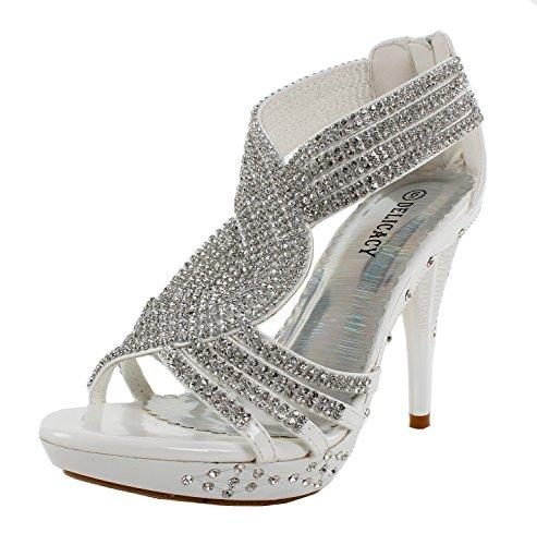 Fabulous Delicacy-07 Open Toe Platform Sandals for Women, White Pu, 6