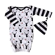 2PCs/Set Newborn Toddle Unisex Baby Reindeer Romper+Hat Outfits Infant Gown Clothes 0-6 Months White