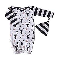 2PCs/Set Newborn Toddle Unisex Baby Reindeer Romper+Hat Outfits Infant Gown C...