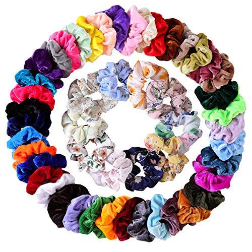 50 Pcs Hair Scrunchies Velvet Elastic Hair Bands Scrunchy Hair Ties & Chiffon Flowers Scrunchies Ropes Scrunchie for Women or Girls Hair Accessories - 50 Assorted Colors Scrunchies. ()