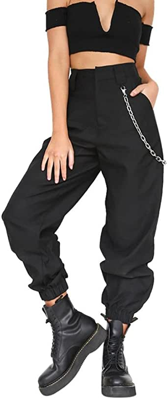 LHWY-Pantalones Pantalones Cargo Color SóLido Mujer Hip Hop Harem ...