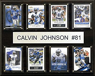 NFL Detroit Lions Calvin Johnson 8-Card Plaque, 12 x 15-Inch