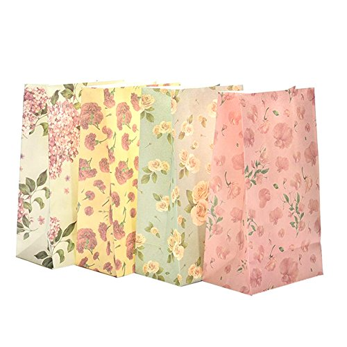 ower Floral Paper Present Bag Xmas Party Holiday Cookies Gift Bag (Small Floral Gift Bag)