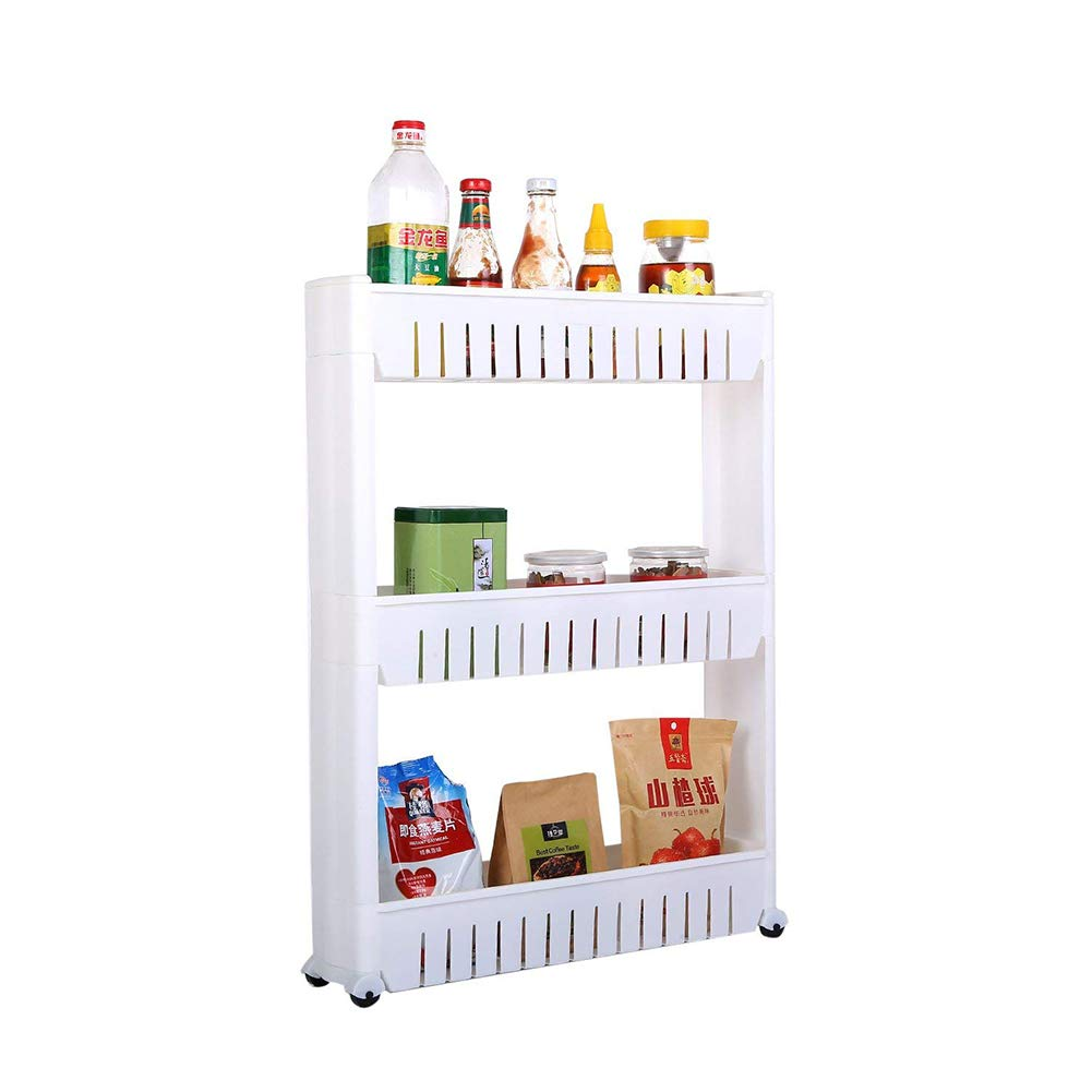 Kitchen Storage Rack with Wheels Bedroom Storage Shelving Trolley 3 Tiers Slide Out Removable Bathroom Storage Shelf Easy to Assemble by Hengory (Image #2)