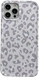 INS Cold Gray Leopard Print Soft Case for Apple iPhone 12 Pro Max with Fashion Frame Cute Design Skin Cellphone Accessories Protective Cover for iPhone 12 Pro Max 6.7 inch Cases
