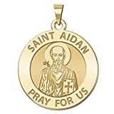 Saint Aidan Religious Medal - 3/4 Inch Size of a Nickel -Solid 14K Yellow Gold