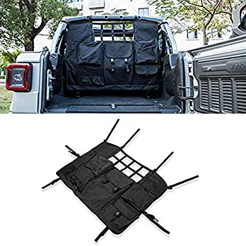 BEIJIAOFLY Fits for Jeep Wrangler Rear Seat Cover Cargo Net with Storage Pouch Bags Trunk Cargo Tool Organizers Holder Backseat Soft-Shell Carrier and Car Pet Dog Barrier for JK 2007-2017 JL 2018 Up