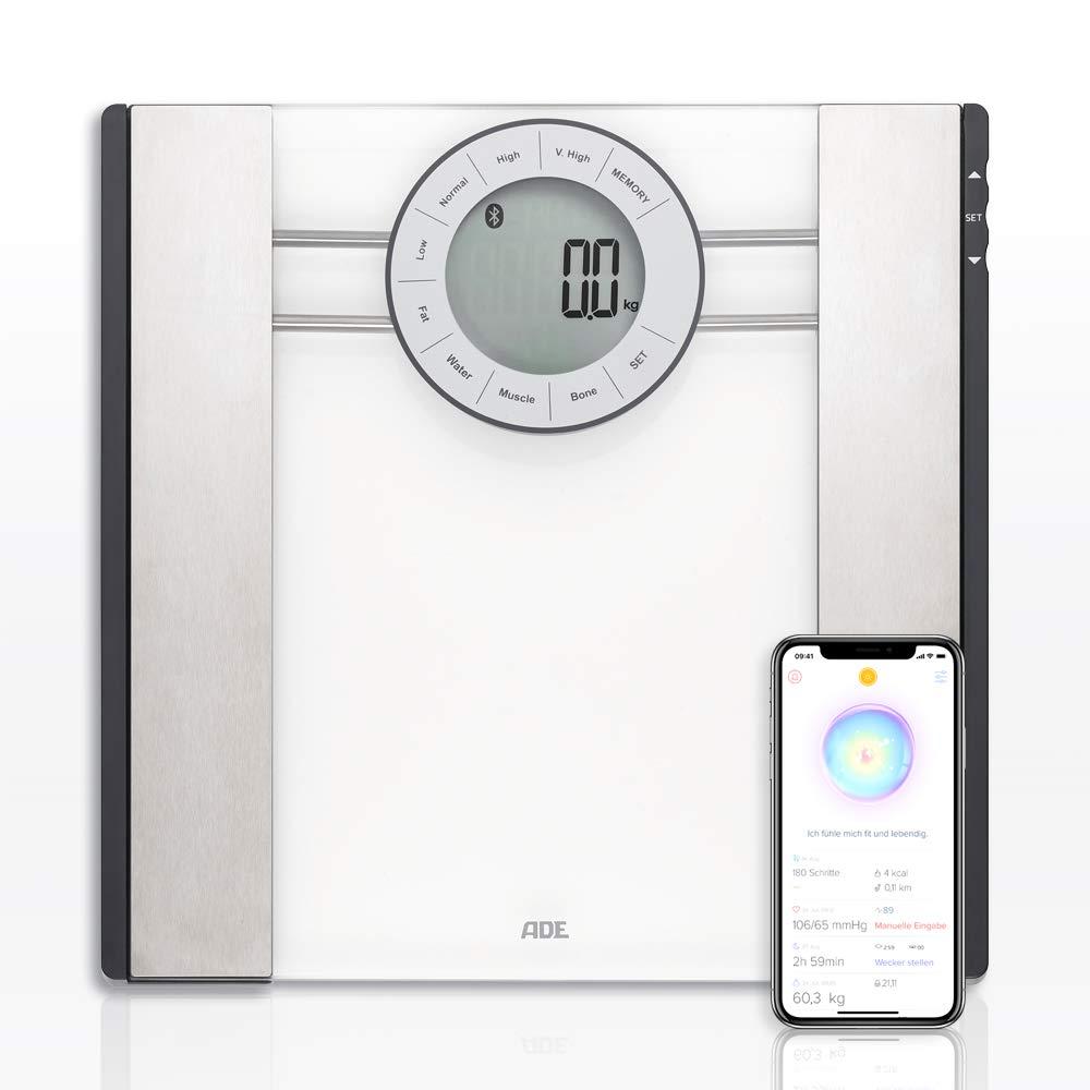 ADE Báscula de análisis corporal BA1601 FITvigo. Electrónica con excelente App. gratuita. Obtenga peso hasta 180kg. Indice de masa corporal y osea, agua.