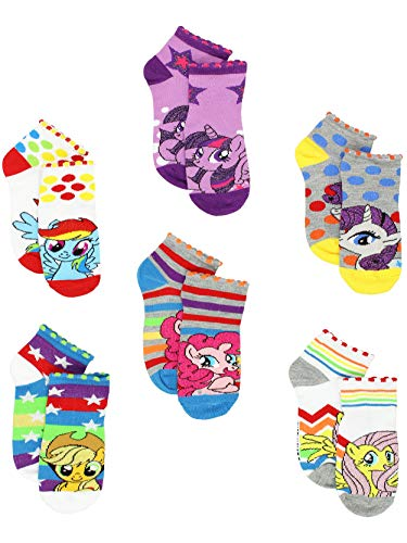 My Little Pony Girls 6 pack Socks (4-6 (Shoe: 7-10), Grey/White Ponies) -