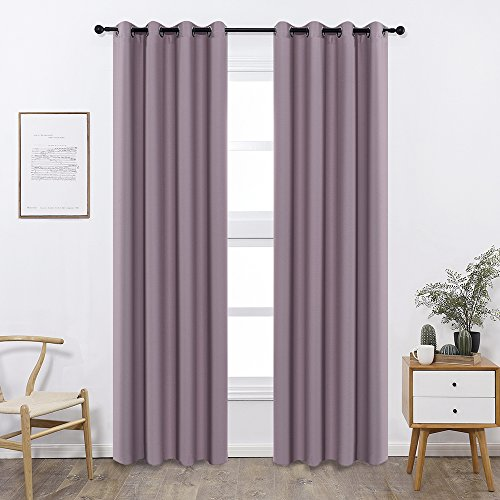 Shade Insulation Curtain For Bedroom Living Room Balcony Curtain,Pale Pinkish Purple,52x95-inch,1 Panel