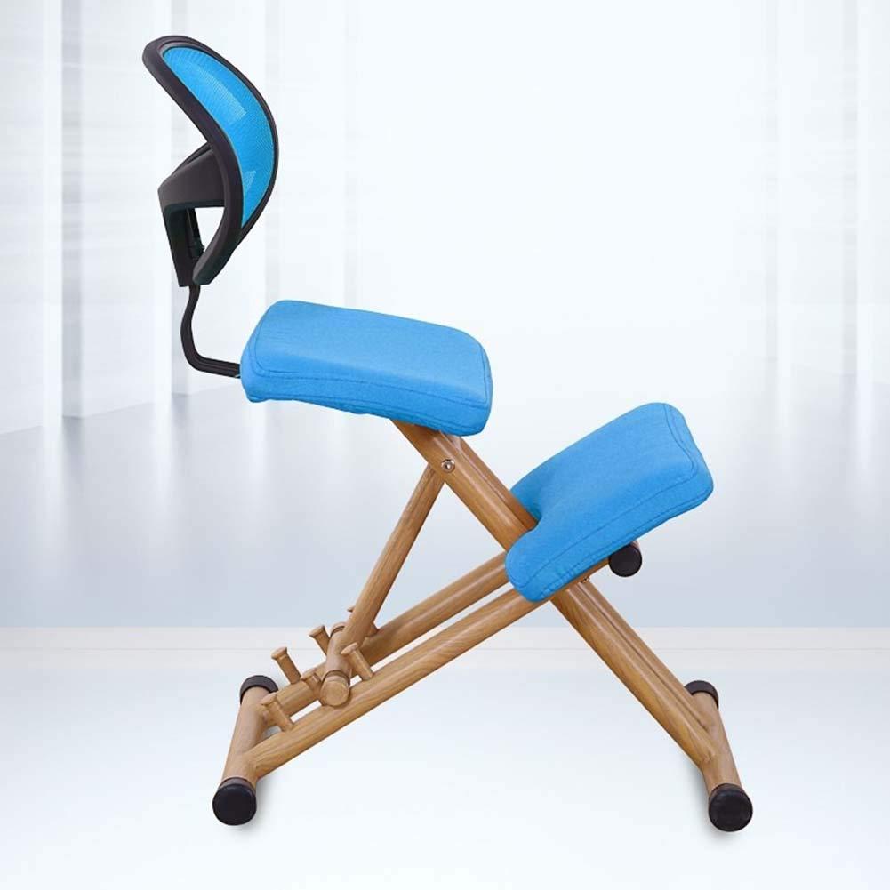 Wmagnifiy variabel knästol ergonomisk knästol hållning kontor ortopediska stolar knäpall för arbete skrivbord med höjdjustering, 4 färger, rosa BLÅ