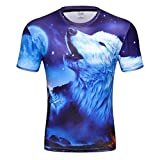 Wolf 3D Print T Shirt Multiple Designs Short Sleeve Creative Fashion(ME209,L)
