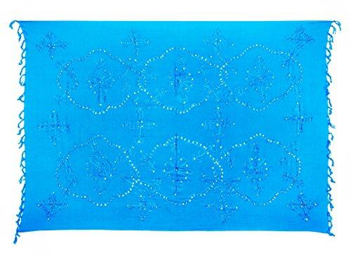 Sarong Pareo Dhoti Lunghi ca. 170cm x 110cm Hell Blau mit Stickerei Handgefertigt