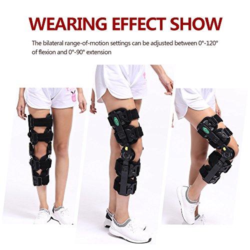 Hinged Knee Patella Brace Support Stabilizer Pad Belt Band Strap Orthosis Splint Wrap Compression Sleeve Immobilizer Guard Protector ROM(range of motion) Adjustable Medical Orthopedic Post-Op by HKJD (Image #3)