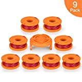 AIVS Replacement String Trimmer Line, 10ft 0.065'' Grass Trimmer Line Spool for Worx WA0010& 50006531, 9 Pack (8 Replacement Line Spool,1 Trimmer Cap)
