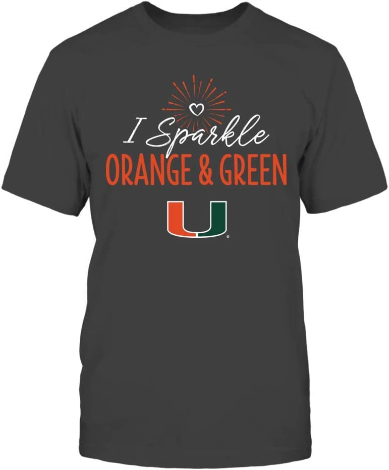 FanPrint Miami Hurricanes T-Shirt Tank I SparkleSchool Colors T-Shirt