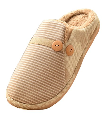 Cattior Mens Stripe Pantofole Calde Morbide Pantofole Di Casa Marrone