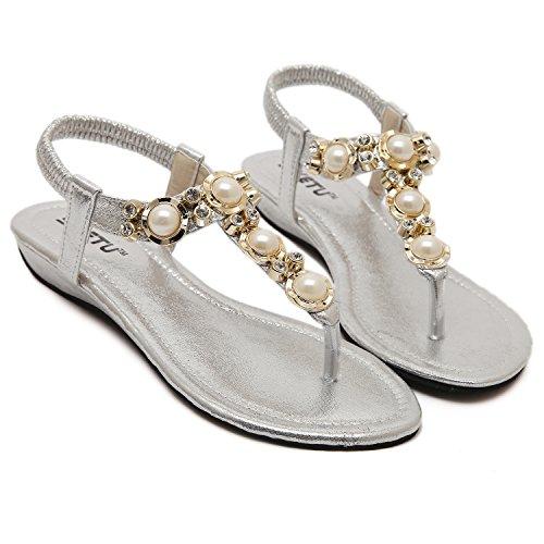 dqq Damen Perlen ankls Gurt String Sandale 2