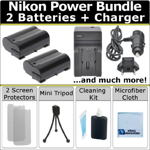 Complete Deluxe Starter Kit for Nikon D7200 D610 D600 D800 D800e D7000 D7100 D750 D810 DSLR Camera + 2 EN-EL15 Batteries + AC/DC Turbo Charger