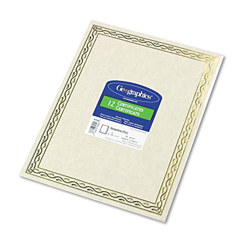(Geographics : Foil Stamped Award Certificates, 8-1/2 x 11, Gold Serpentine Border, 12 per Pack -:- Sold as 2 Packs of - 12 - / - Total of 24)