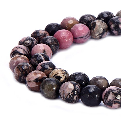 (BRCbeads Natural Black Stripe Rhodonite Gemstone Loose Beads Faceted Round 8mm Crystal Energy Stone Healing Power for Jewelry Making)