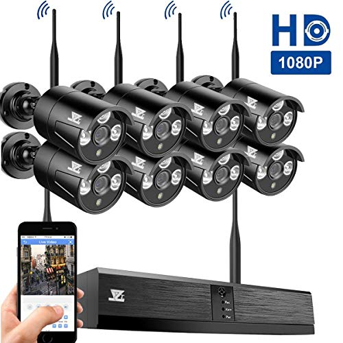 JZTEK Wireless Security Camera System 8pcs 1080P(2.0MP) WiFi CCTV IP Camera + 8CH HDMI NVR Home Video Surveillance System, Microphone Plug, Night Vision, Motion Detection, NO HDD Pre-Installed