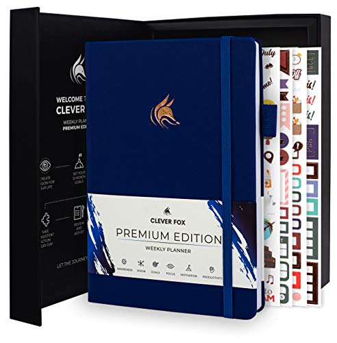 Clever Fox Planner Premium Edition - Luxurious Weekly & Monthly Planner to Increase Productivity and Hit Your Goals - Organizer - Undated, Start Anytime, A5, Lasts 1 Year, Navy Blue (Weekly)