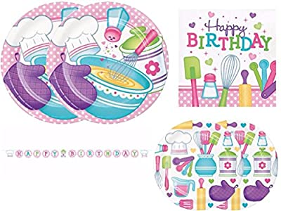 Little Chef Baking Birthday Party Supplies Kit Including Dinner Plates, Dessert Plates, Napkins and Banner for 16