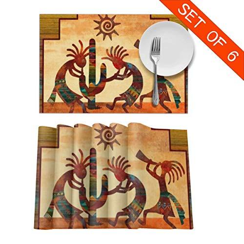 Tidyki Southwest Native American Kokopelli Placemats Table Mats Set of 6 Washable Non Slip Heat Insulation Place Mats Dining Room Kitchen Decor 12 X 18