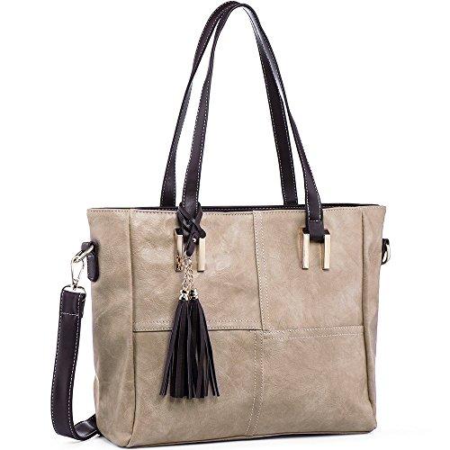 IYAFFA Handbags for Womens Fashion Top Handle PU Leather Purse Ladies Tote Shoulder Bags Tassel Design Medium Size Khaki