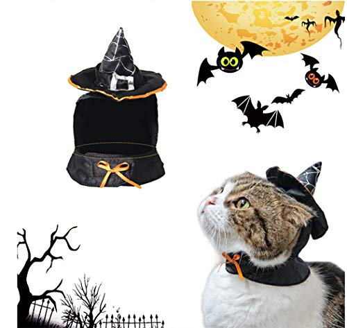 Hillento Cute Hooded Cloak Witch, Wizard Halloween Costume for Small Dogs & Cat Kitten, Cat Costume