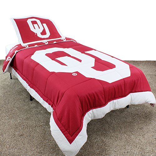 College Covers Oklahoma Sooners Reversible Comforter Set, Full (Oklahoma Comforter Full Sooners)