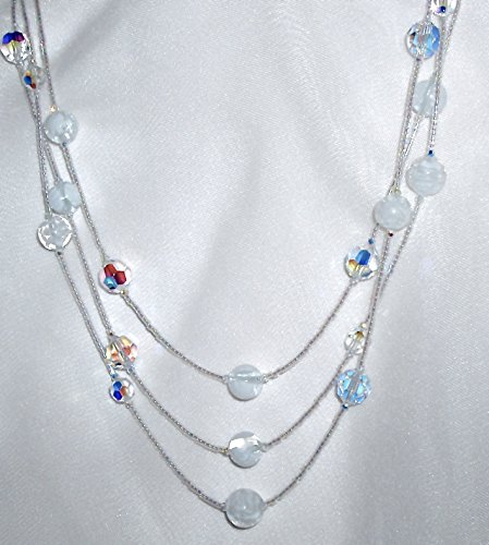 White Murano Millefiori Glass and Clear AB Crystal Necklace ()